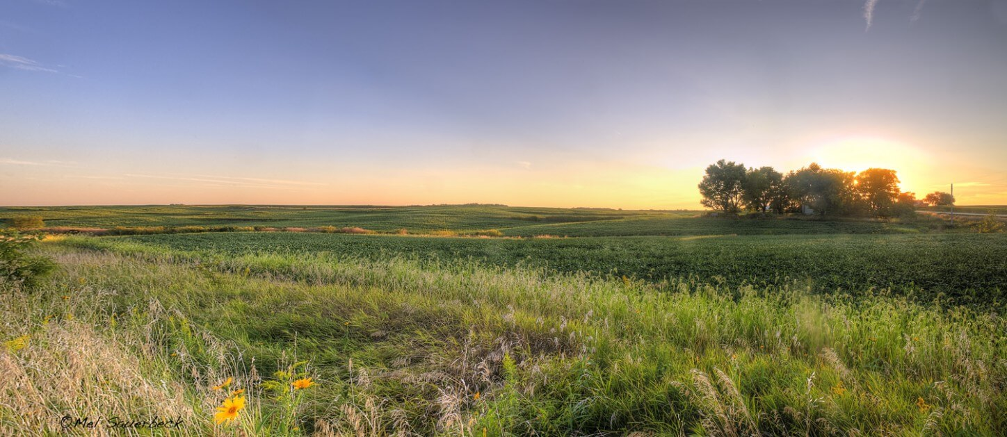 High dynamic range photo, HDR, during the magic hour, sunset of natural prairie in Pleasant Plane, Iowa