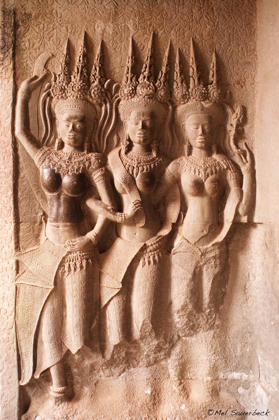 Statue of three goddesses, Angkor Wat, Cambodia