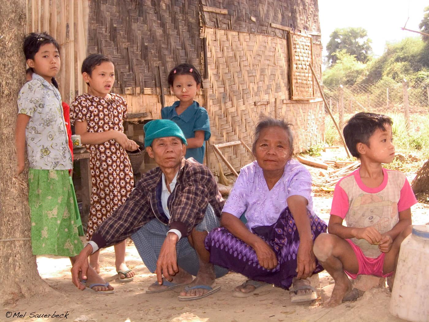 Village family, Myanmar, Burma