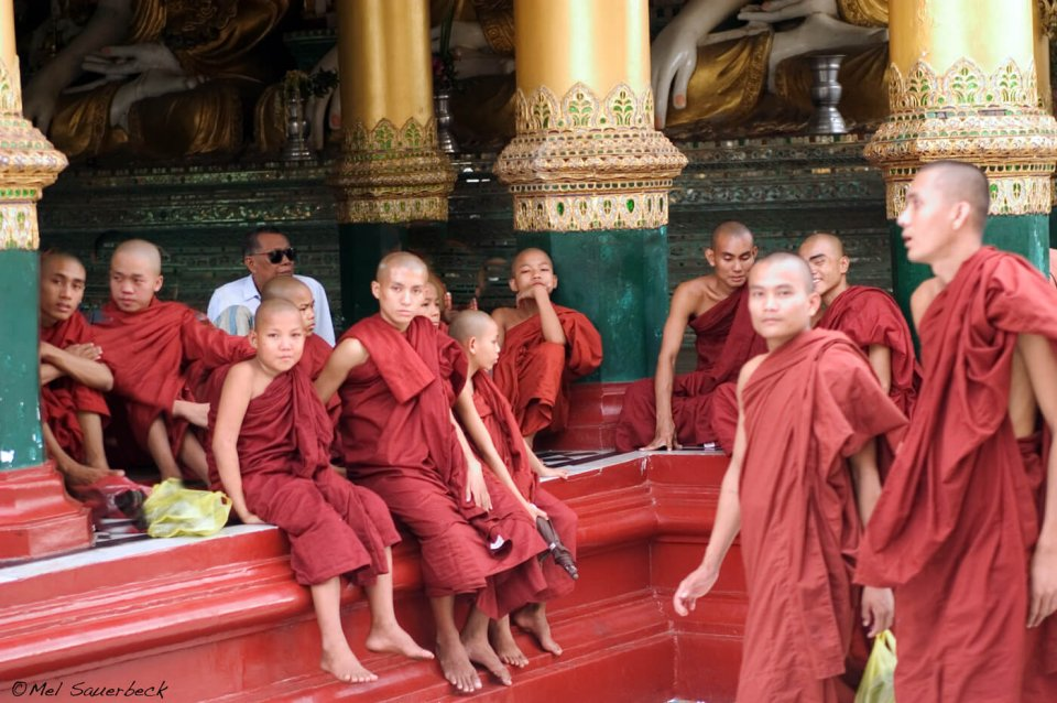 Monks at temple, Myanmar, Burma