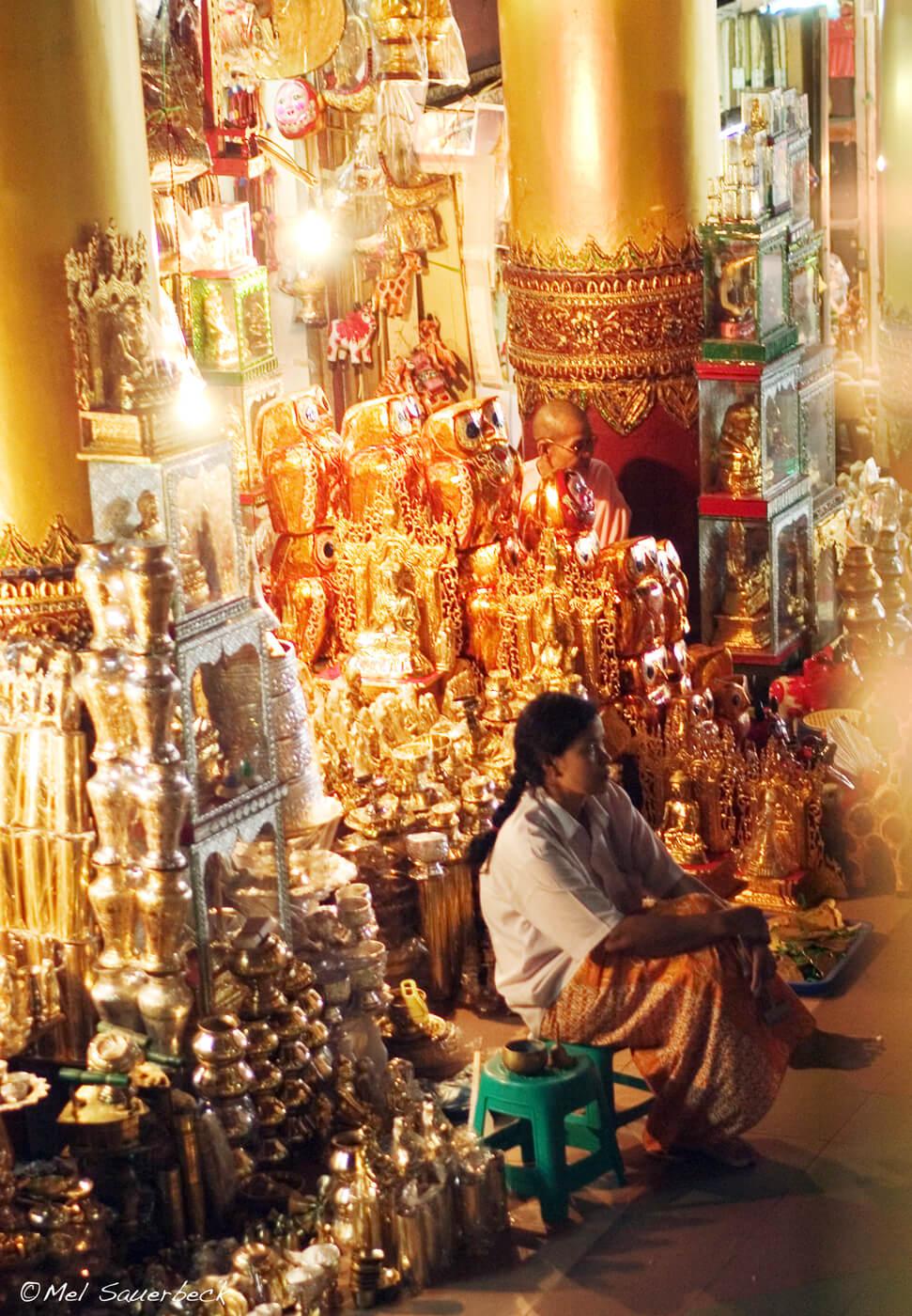 Woman in temple, Myanmar, Burma