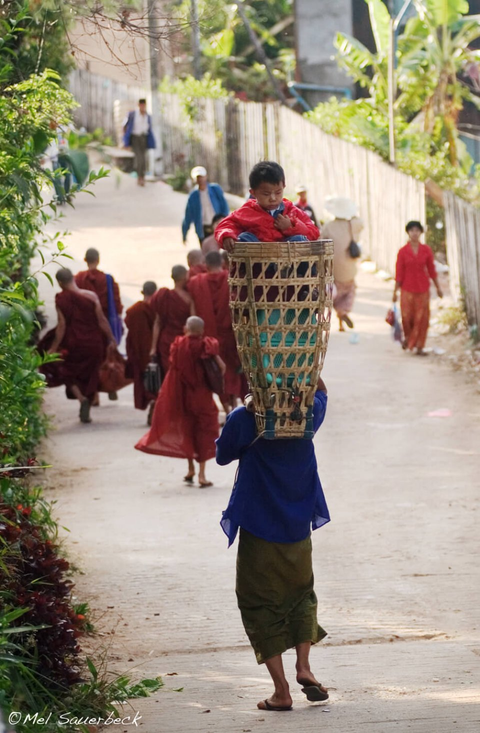 Man carrying boy in basket, Myanmar, Burma