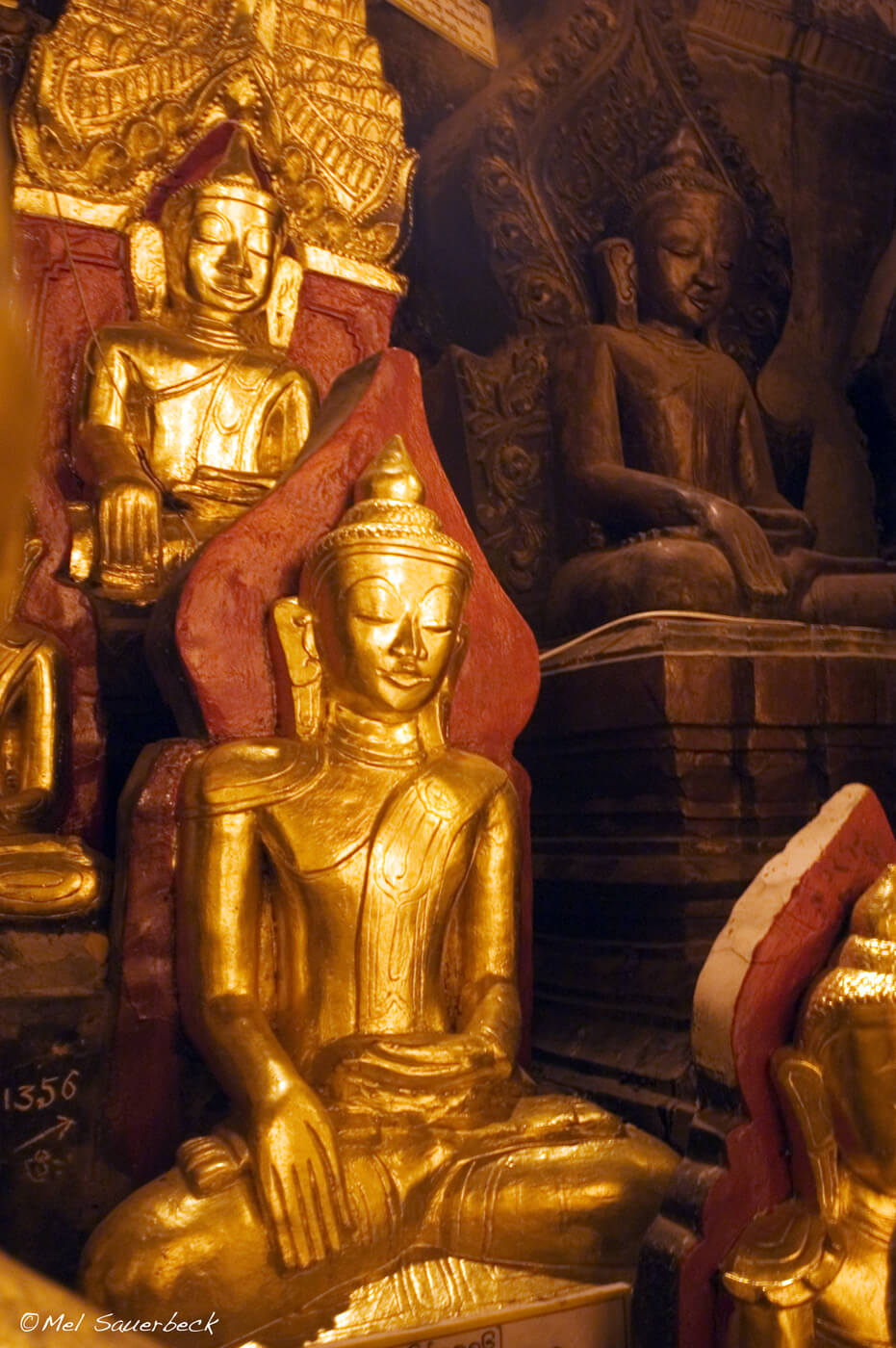Golden Buddhas, Myanmar, Burma