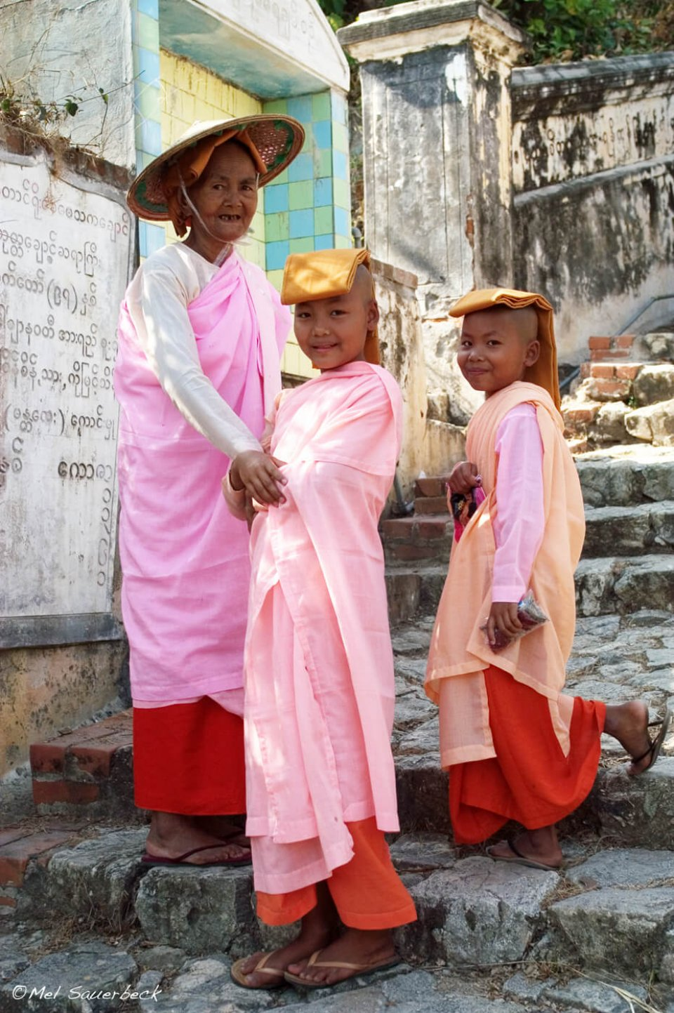 Lady monks on stairs, Myanmar, Burma