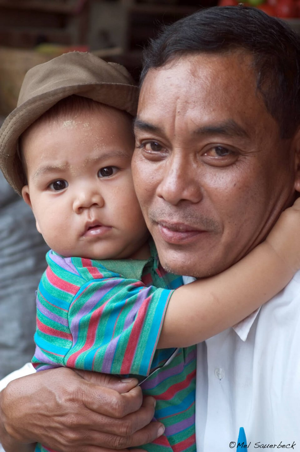 Father and son, Myanmar, Burma