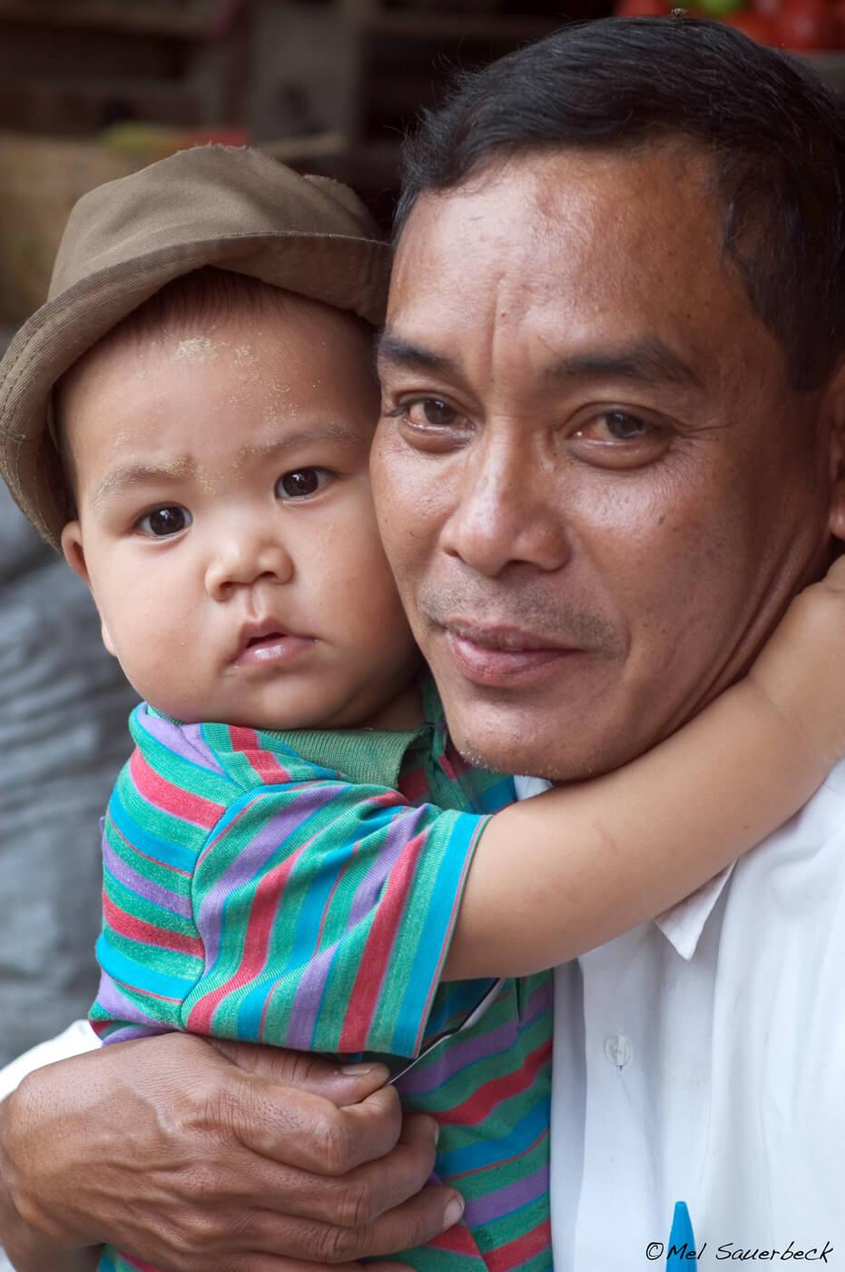 Father and son, Myanmar, Burma