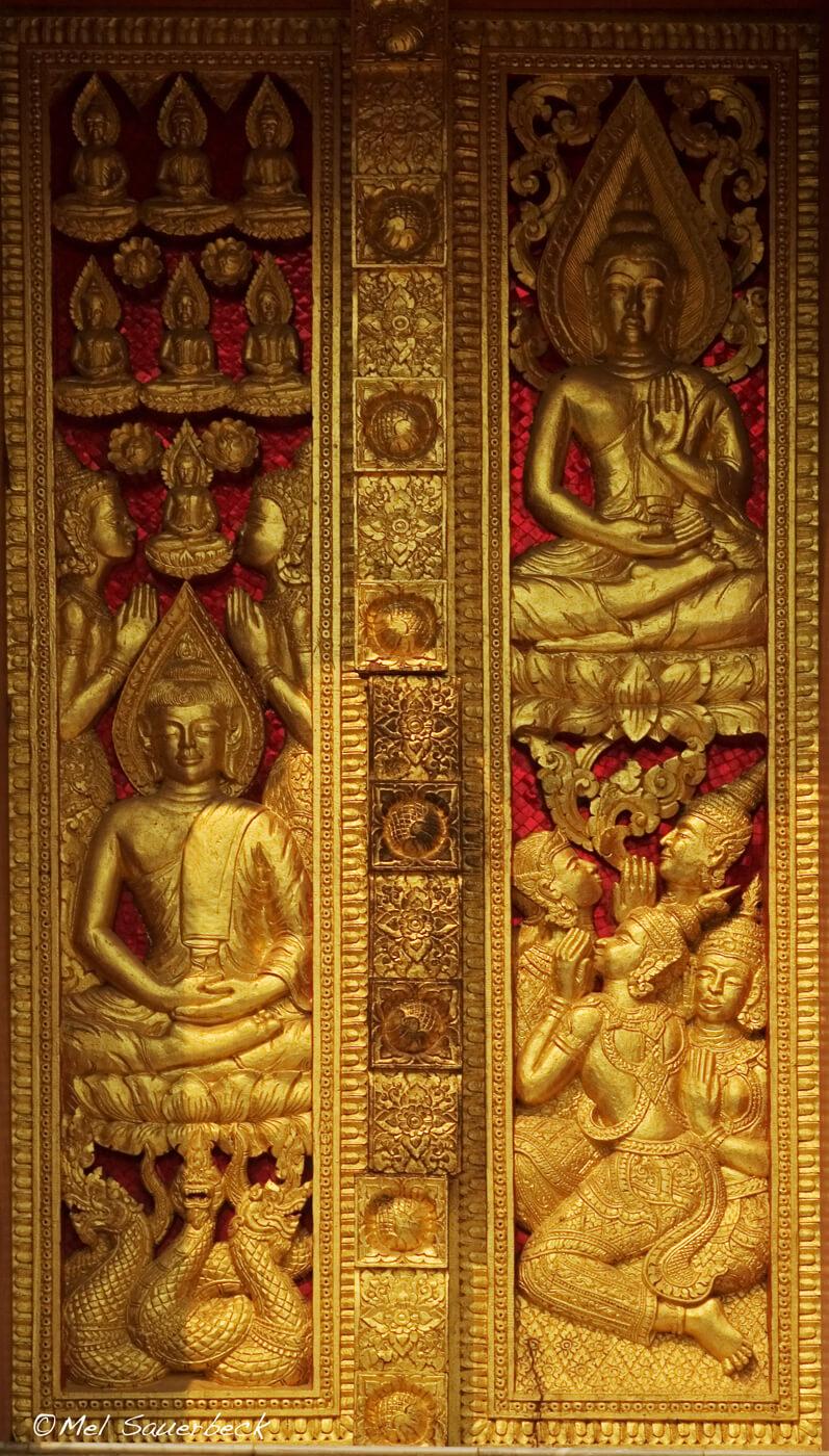 Golden door carving, Lao