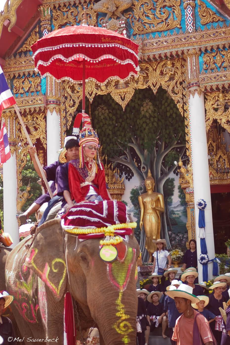 Boy on elephant at temple, Thailand