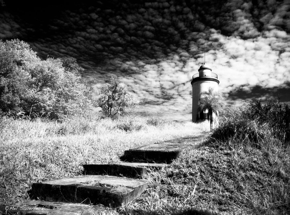 Tower at Igazu, IR black and white
