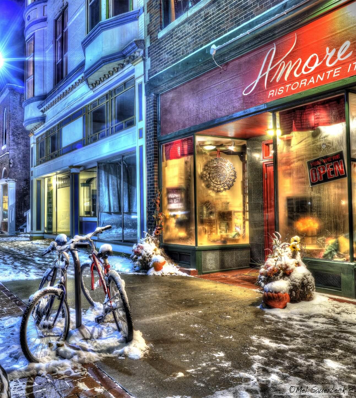 Winter scene, Amore Mio restaurant