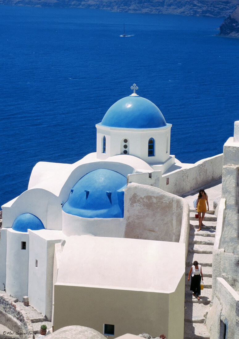 Blue Domes & Sea, Santorini, Greece