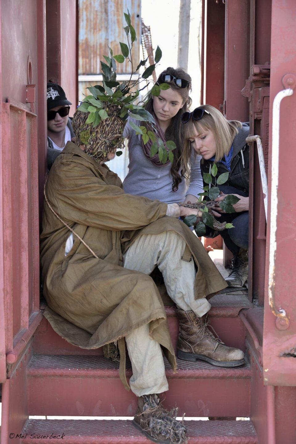 Crew preps props Last Tree Standing movie production