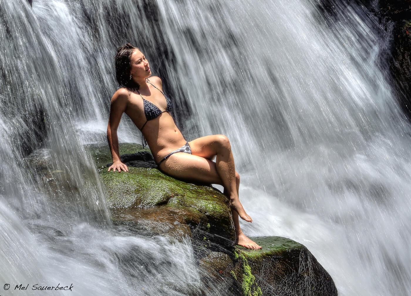 Kalina in waterfall, Kauai