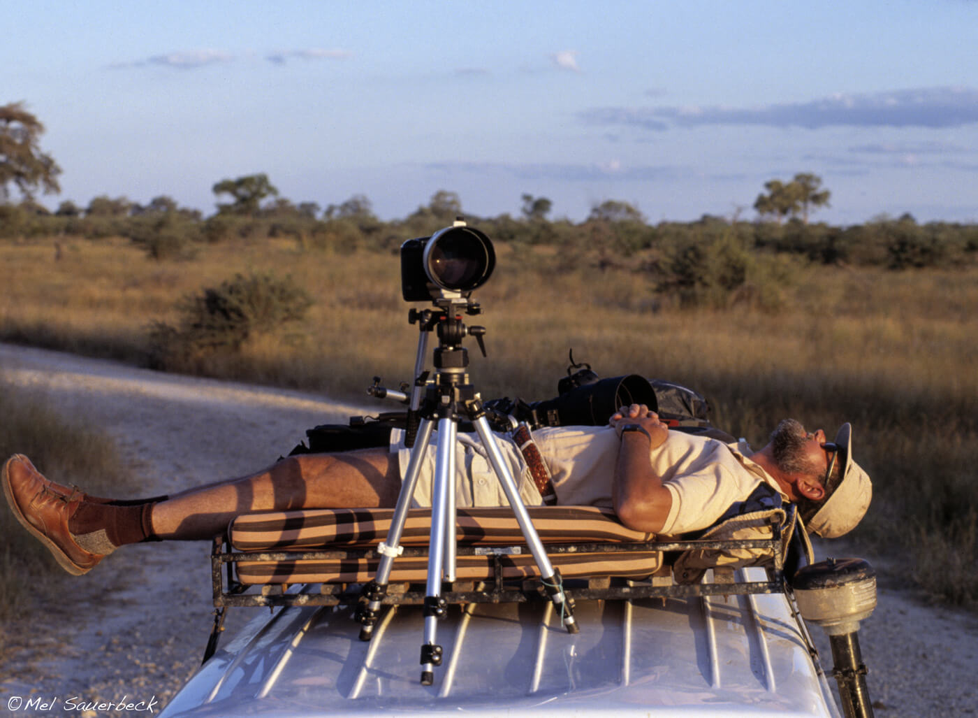Photographer resting on Safari vehicle